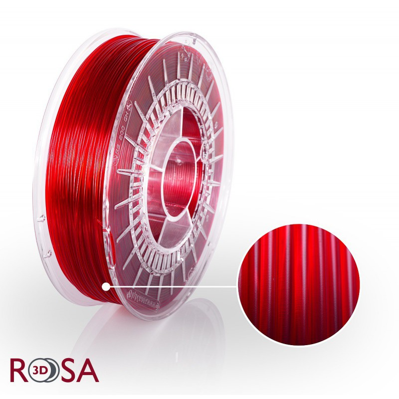 Filament Rosa PET-G Standard 1,75 mm Czerwony Transparent 0,8kg - 1