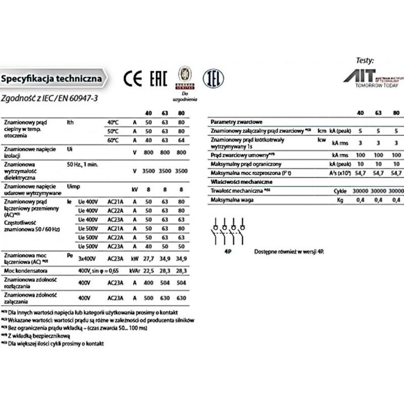 Rozłącznik izolacyjny 3-bieg.  80A / 400V /  AC22A