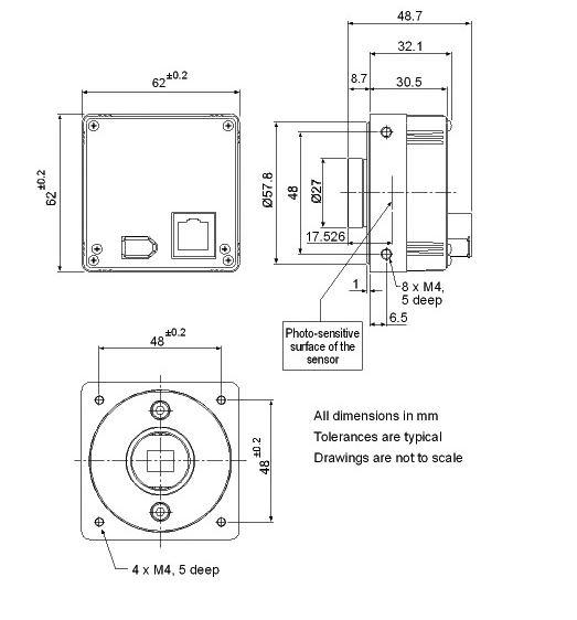 KAMERA BASLER A102F Rysunek techniczny